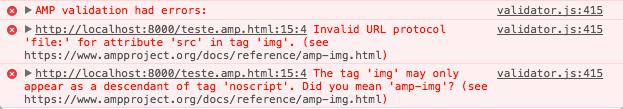 Erro de validação AMP
