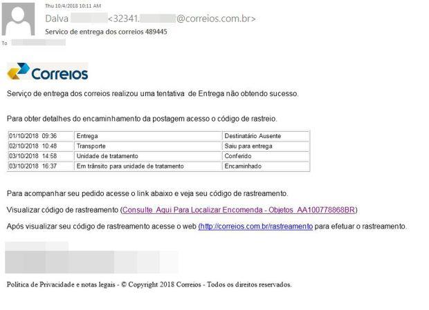 Malware se distribui a partir de e-mail falso dos Correios: note o endereço e linguagem suspeitas.