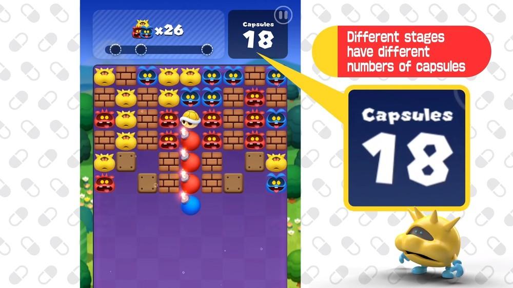 As fases de Dr. Mario World têm um número limitado de cápsulas que podem ser usadas